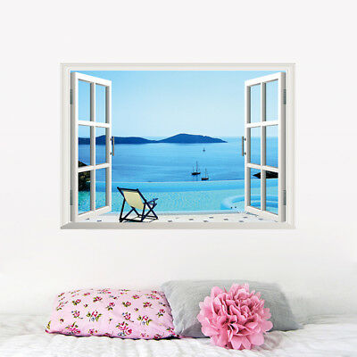 Home Decoration 3D Wall Stickers Window View Beach Castle Wallpaper Wall Art