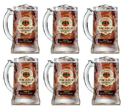 Bacardi Oakheart Smooth Rum Beer Mug Heavy Glass Drinking Stein 12 oz Set of 6