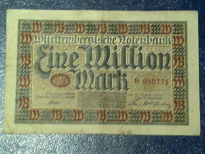 Germany - 1 Million Mark  Banknote 1923- Stuttgart-Inflation - Very Fine
