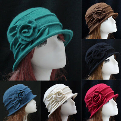 Womens Ladies Flower Vintage Winter Wool Cap Beanie Cloche Bucket Hat Headwear