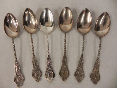 Lot Of 6 Antique R Strickland Redfield Rice Silver Plated Spoons Monogram