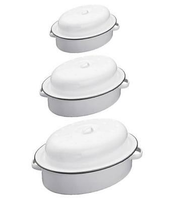 Enamel Oval Roaster Dish Roasting Oven Tray Casserole Pan White With Lid S/m