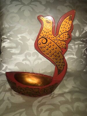 Russian Lacquered Kovsh Drinking Vessel Decorated With Fantasy Bird Gold On Red