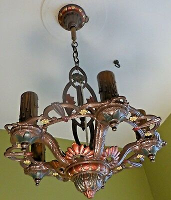 Antique Vintage Art Deco  Cast Iron Ceiling Light Fixture Chandelier