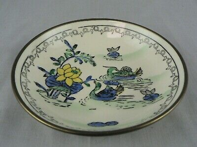 Vintage Chinese Porcelain Bowl Dish in Brass Shell Hand Painted Hallmark Stamp