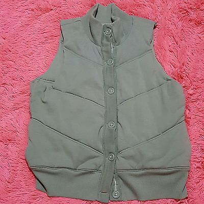 Old Navy Sz XL Sweater Vest Womens Green Button Front Puffer Super Soft Quilted