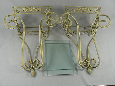Wall Sconces - Glass Insert Shelves - Shabby Distressed Ornate Scrolled Metal