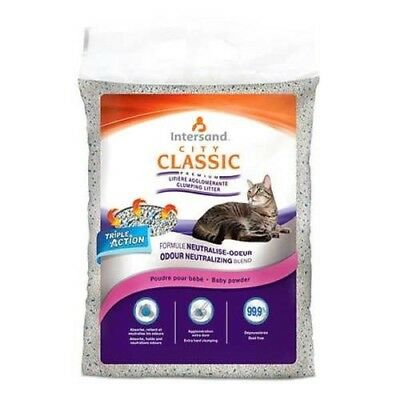 Intersand Classic Hygienic Clumping Cat Litter 99.9 % Dust Free 15kg Baby Powder