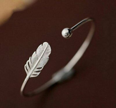 925 sterling silver feather angel cuff ball adjustable bangle bracelet Memorial