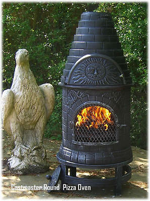 Castmaster Cast Iron Outdoor Garden Round Pizza Oven Chiminea Chimenea