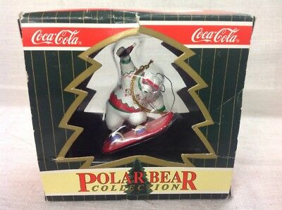 FREE SHIPPING!! VINTAGE COCA COLA CHRISTMAS HOLIDAY ORNAMENT IN BOX- Polar Bear