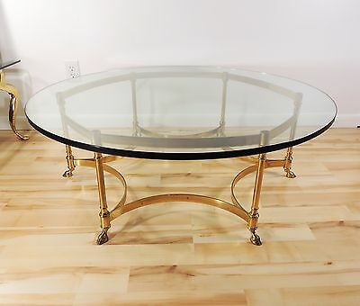 Vintage Mid Century Modern Hollywood Regency Labarge Brass Coffee Table