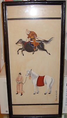 Antique Chinese Horse Painting Signed Chop Mark Framed