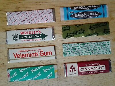 Mix Lot Of (8) Old Different Chewing Gum Wrappers, Sealed Single Sticks With Gum