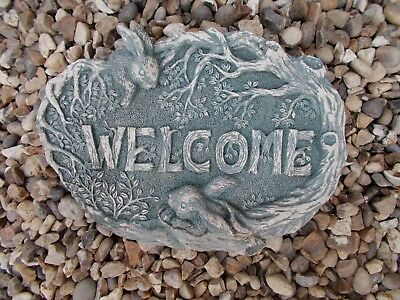 RABBIT WELCOME PLAQUE House Sign Wall Plaque