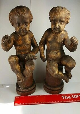 Pair Of Antique 19Th Century Italian Carved Wood Putti Puties Angels