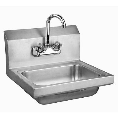 "Stainless Steel Wall-Mount Hand Sink 9"" x 9"" Bowl with Faucet NSF Certified"