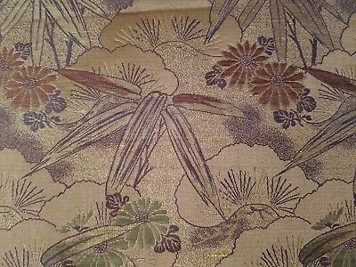"""ANTIQUE Japanese Obi Thick Heavy 152"""" inches long  METALLIC BRONZE GOLD FLORAL"""