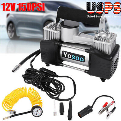 12V 150PSI Double Cylinder Air Compressor Pump Auto Car Inflator Portable Kit US