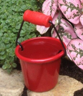 MINIATURE RED METAL BUCKET or PAIL DOLLHOUSE OR FAIRY GARDEN by TIMELESS MINIS