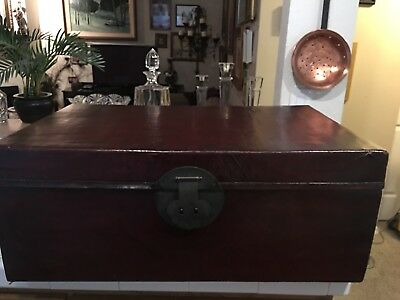 Chinese Antique Bridal Wedding Chest Brown Lacquered