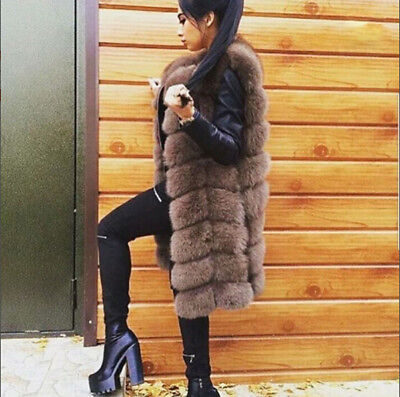 Fashion Genuine Fox Fur Waistcoat Coat for Women Long Slim Real Fur Vest Gilet