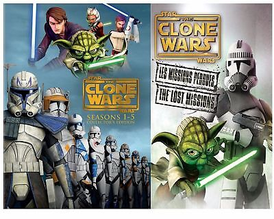 Star Wars Clone Wars The Complete Series 1-5 (DVD Box Set) + The Lost Missions!