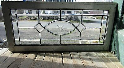 Antique Beveled Glass Window with Etched Center