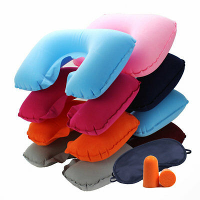 Hot Portable Inflatable Flight Pillow Neck U Rest Air Cushion Eye Mask  Earplug