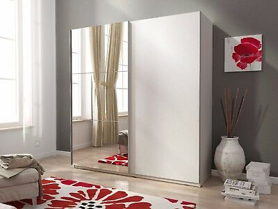 "NEW MODERN BEDROOM SLIDING DOOR WARDROBE ""MIKA II"" 4ft11inch (150cm) BIG MIRROR"