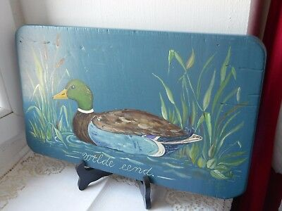 stunning vintage French hand made and painted wooden bread board