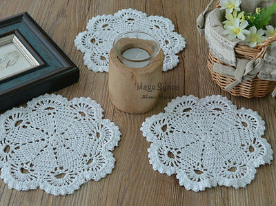 "7"" Round White Hand Crochet Doily Coaster Floral French Country Wedding"