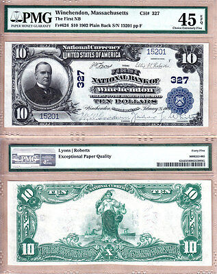 1902 PB $10 First National Bank of Winchendon, MA. Fr.624 CH#327; PMG EF45 EPQ