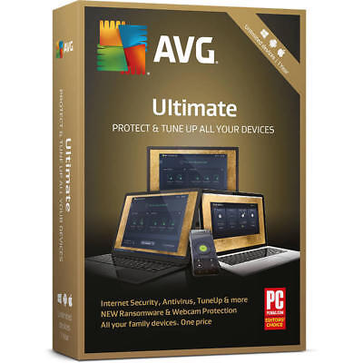 AVG Ultimate 2019 Unlimited Devices/1Year - Antivirus TuneUp & Internet Security
