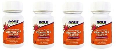 NOW Foods Vitamin D3 Highest Potency 10000 IU ,120 Softgels-4 Pack