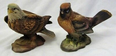 Vintage Lot of 2 LEFTON JAPAN Bird Figurines OM3672 BALD EAGLE & 3625 WAXWING