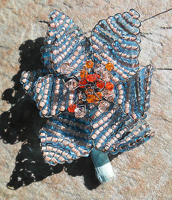 Vintage Handmade Wire Glass & Swarovski Crystal Beaded Flower