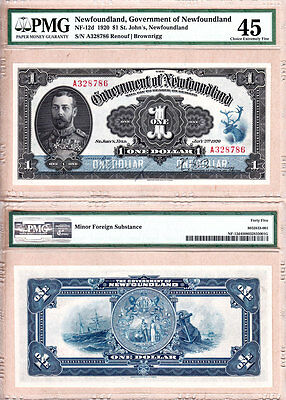1920 $1 Government of Newfoundland KGV Admiral Portrait Note PMG CH EF45. NF-12d