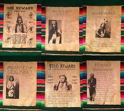 Wanted Posters Indian Western Geronimo Army Custer Sitting Bull Old West Sioux
