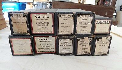 10 Ampico Player Piano Rolls All in Good Playing Condition