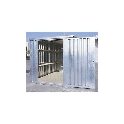 Flat pack collapsible steel store storage container, 4 metre x 2100 Galv. finish
