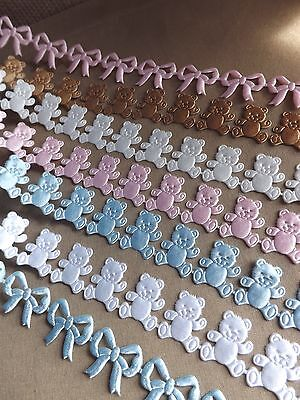 Satin Cut Out Teddy Ribbon Baby Christening Newborn Cards Cakes favors boy girl