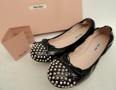 cf932785 MIU MIU BLACK studded leather Ballet Flats Shoes EU38 UK5 New