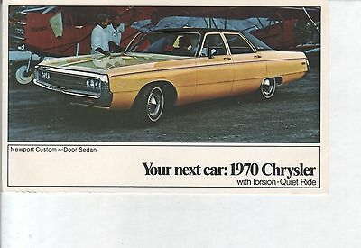 1970 Chrysler Newport with Torsion-Quiet Ride, Your Next Car VINTAGE POSTCARD!