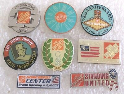 Lot of 8 Home Depot Store Advertising Souvenir Collector Hat Pins