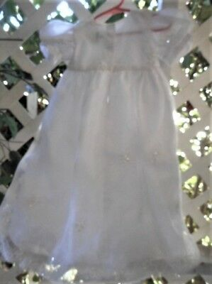 "Sheer Layered 29"" Long  Christening Dress W/sequins & Appliques M"
