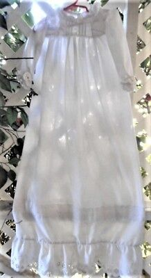 "Vintage Cotton & Eyelet Ruffled 38"" Long  Christening Dress"