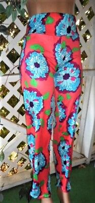 "70's Look Hot Pink Big Flower Power 40"" Long Silky Poly Capri Pant L/xl"