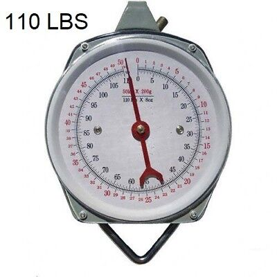 New 110Lbs Hang Up Spring Scale Accurate Weight Hanging Dial Scale Food Produce