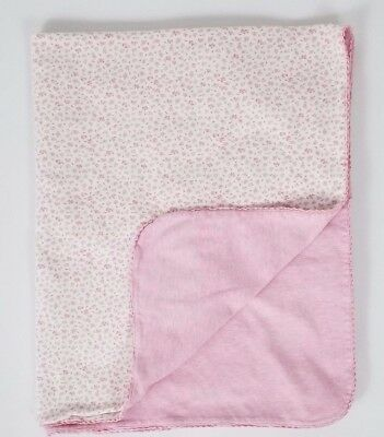 Amy Coe Pink Baby Girl Security Blanket White Floral Rose Bud Lovey